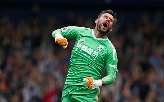"""Soccer Football - Premier League - West Bromwich Albion v Liverpool - The Hawthorns, West Bromwich, Britain - April 21, 2018 West Bromwich Albion's Ben Foster celebrates after Salomon Rondon scores their second goal REUTERS/Andrew Yates EDITORIAL USE ONLY. No use with unauthorized audio, video, data, fixture lists, club/league logos or """"live"""" services. Online in-match use limited to 75 images, no video emulation. No use in betting, games or single club/league/player publications. Please contact your account representative for further details."""