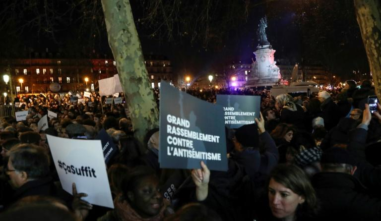 Thousands of people demonstrated across France to protest the rise in anti-semitic incidents in the country