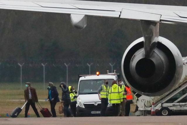 British nationals evacuated from Wuhan arriving back in the UK on Friday. (Getty)