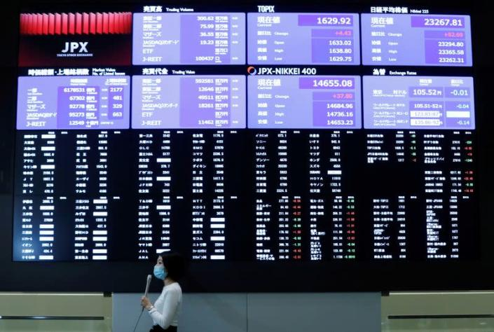 FILE PHOTO: A TV reporter stands in front of a large screen showing stock prices at the Tokyo Stock Exchange after market opens in Tokyo