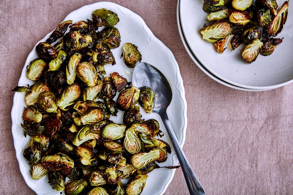 "Let Brussels break free from bacon's grasp. <a href=""https://www.bonappetit.com/recipe/roasted-brussels-sprouts?mbid=synd_yahoo_rss"" rel=""nofollow noopener"" target=""_blank"" data-ylk=""slk:See recipe."" class=""link rapid-noclick-resp"">See recipe.</a>"