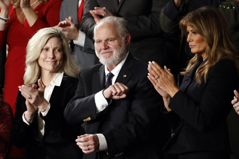 Rush Limbaugh reacts as President Trump delivers the State of the Union address in Washington, D.C., Feb. 4, 2020. (AP Photo/Patrick Semansky)