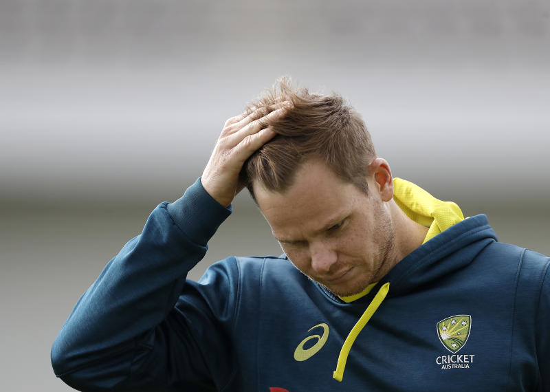 LEEDS, ENGLAND - AUGUST 20: Steve Smith of Australia looks on during the Australia Nets session at Headingley on August 20, 2019 in Leeds, England. (Photo by Ryan Pierse/Getty Images)