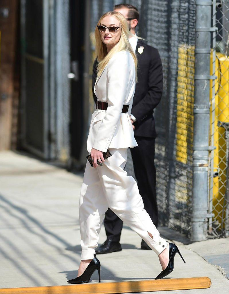 <p>The actor was spotted in a cream-coloured suit by Tibi and cat-eye sunglasses, designed by Turner's stylist Kate Young for Tura, outside the Jimmy Kimmel Live! studios in Los Angeles.</p>