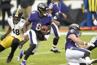 Baltimore Ravens quarterback Lamar Jackson (8) scrambles against the Pittsburgh Steelers during the first half of an NFL football game, Sunday, Nov. 1, 2020, in Baltimore. (AP Photo/Nick Wass)