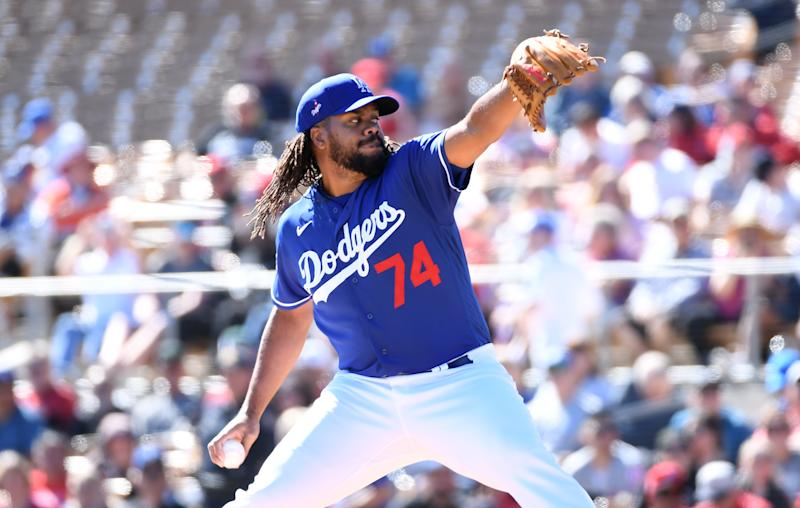 Kenley Jansen #74 of the Los Angeles Dodgers