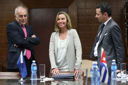 EU foreign policy chief Federica Mogherini is seen during a meeting with Cuba's Minister of Foreign Trade and Investment Rodrigo Malmierca (not pictured) in Havana, Cuba, January 3, 2018. REUTERS/Jorge Luis Banos/Pool