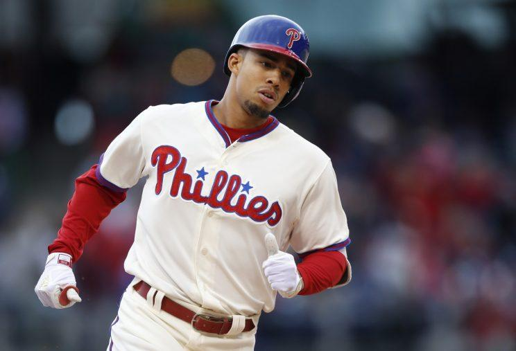 Philadelphia Phillies' Aaron Altherr runs the bases after hitting a three-run home run in the eighth inning of a baseball game against the Washington Nationals, Sunday, May 7, 2017, in Philadelphia. (AP Photo/Laurence Kesterson)