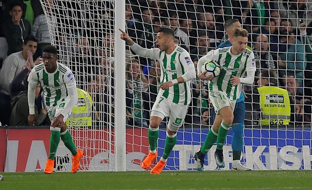 Soccer Football - La Liga Santander - Real Betis vs Real Madrid - Estadio Benito Villamarin, Seville, Spain - February 18, 2018 Real Betis' Sergio Leon celebrates scoring their third goal REUTERS/Jon Nazca
