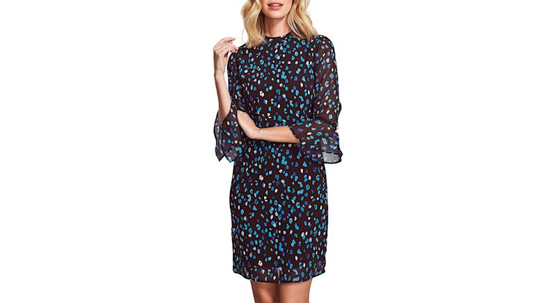 Sosandar Cuff Shift Floral Mini Dress