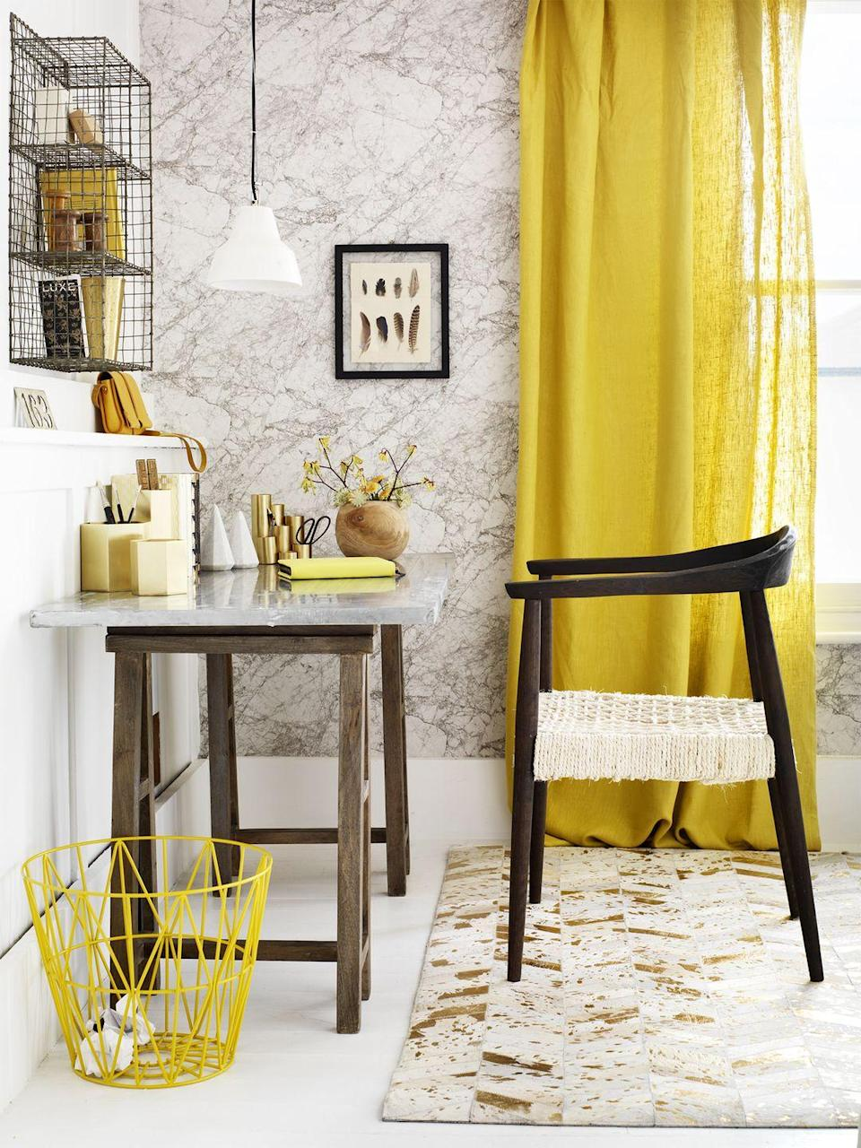 """<p>Wire shelves and baskets are a simple way to encourage you to <a href=""""https://www.goodhousekeeping.com/home/organizing/tips/g656/decluttering-tips/"""" rel=""""nofollow noopener"""" target=""""_blank"""" data-ylk=""""slk:keep clutter at bay"""" class=""""link rapid-noclick-resp"""">keep clutter at bay</a> because, well, you see everything. You can also use 'em to incorporate another color into your space — just add paint. </p>"""