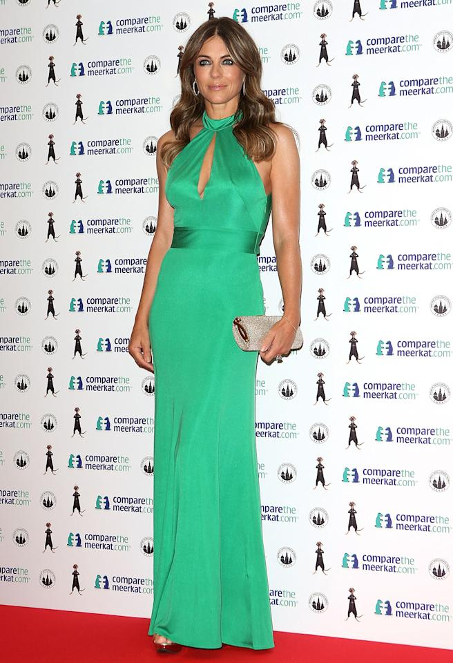 <b>Who:</b> Elizabeth Hurley<br /><br /><b>Wearing:</b> Issa London silk halterneck gown<br /><br /><b>Where:</b> Compare the Market launch event in London