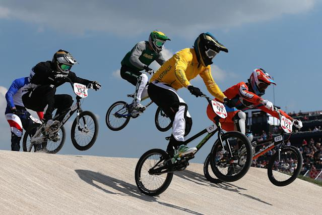 LONDON, ENGLAND - AUGUST 09: Khalen Young (2L) of Australia leads the pack during the Men's BMX Cycling Quarter Finals on Day 13 of the London 2012 Olympic Games at BMX Track on August 9, 2012 in London, England. (Photo by Bryn Lennon/Getty Images)