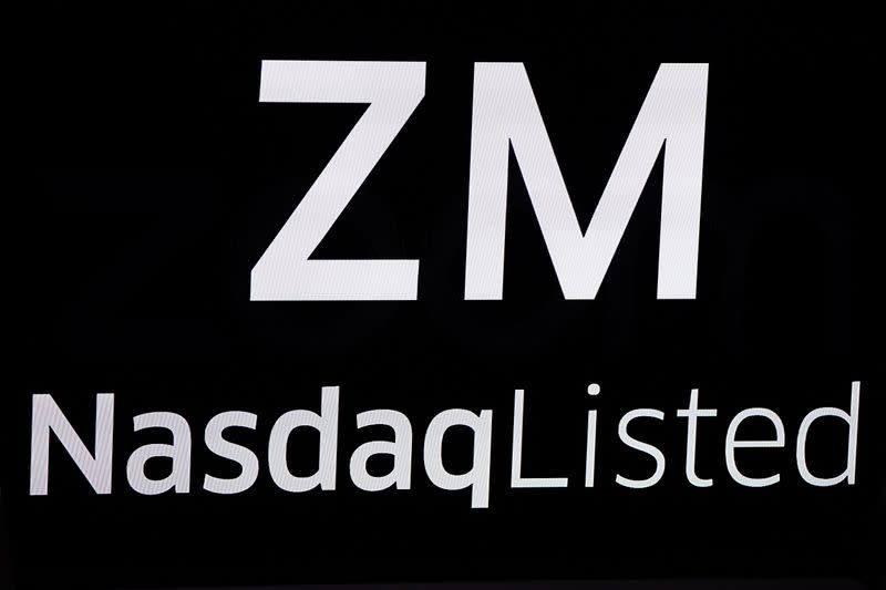 The Zoom Video Communications ticker symbol is pictured at the NASDAQ MarketSite in New York