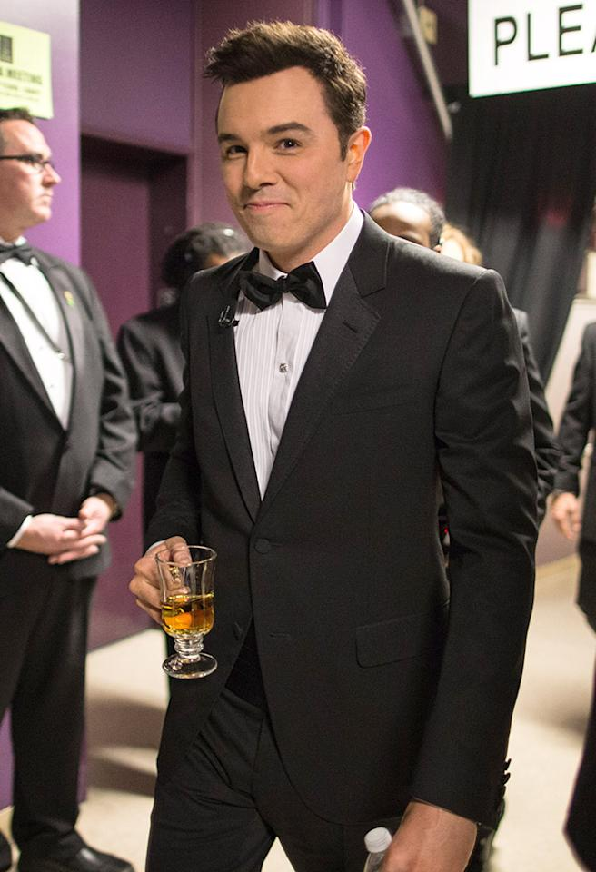 HOLLYWOOD, CA - FEBRUARY 24: Host Seth MacFarlane backstage during the Oscars held at the Dolby Theatre on February 24, 2013 in Hollywood, California. (Photo by Christopher Polk/Getty Images)