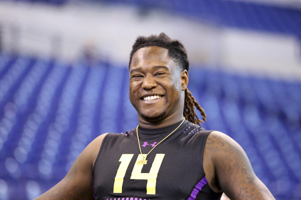 Just about everyone in the NFL is now a Shaquem Griffin fan after his jaw-dropping performance at the league's scouting combine in Indianapolis. (AP)