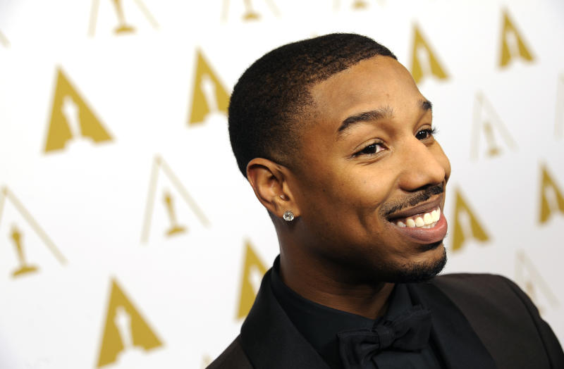 Actor and evening co-host Michael B. Jordan poses at the Academy of Motion Picture Arts and Sciences' annual Scientific and Technical Awards on Saturday, Feb. 15, 2014, in Beverly Hills, Calif. (Photo by Chris Pizzello/Invision/AP)