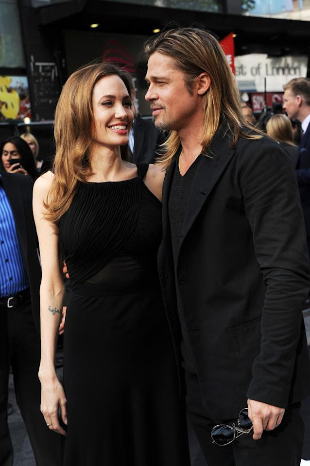 LONDON, ENGLAND - JUNE 02: Angelina Jolie and Brad Pitt attend the World Premiere of 'World War Z' at The Empire Cinema on June 2, 2013 in London, England. (Photo by Stuart C. Wilson/Getty Images for Paramount Pictures International)