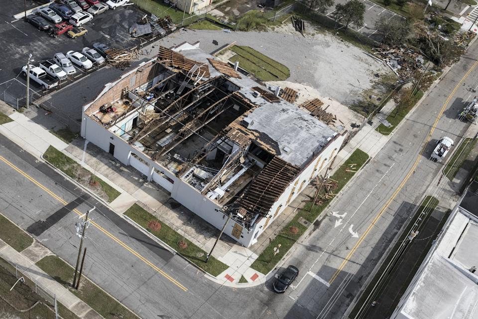 A damaged building stands in the Smiths Creek Industrial Park in Wilmington.