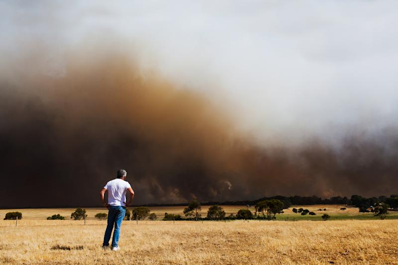 Watching it burn. A man stands by helpless as a wild bush fire burns out of control, Lower Eyre Peninsula - South Australia