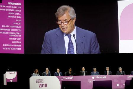 Vincent Bollore, Chairman of the Supervisory Board of media group Vivendi, speaks during the company's shareholders meeting in Paris, France, April 19, 2018.   REUTERS/Charles Platiau
