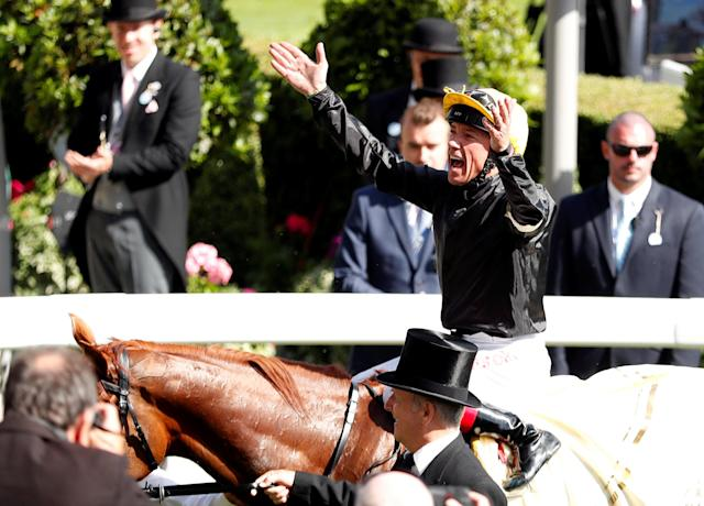 Horse Racing - Royal Ascot - Ascot Racecourse, Ascot, Britain - June 21, 2018 Frankie Dettori celebrates on Stradivarius after winning the 4.20 Gold Cup Action Images via Reuters/Andrew Boyers