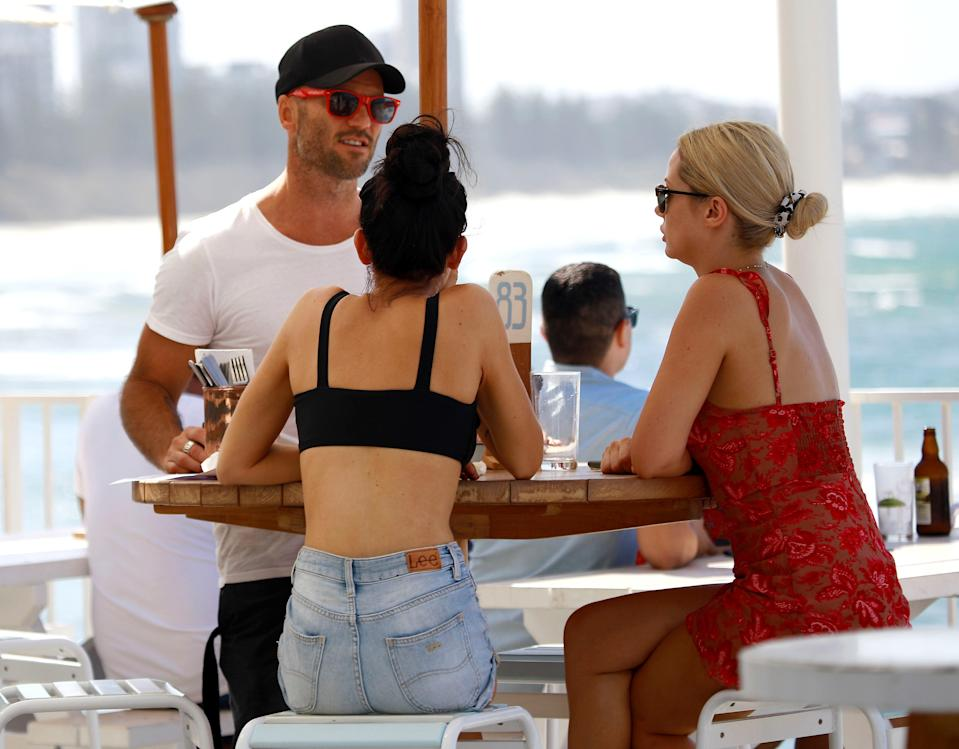 MAFS stars Ines Basic and Jessika Power caught up with Mike Gunner on the Gold Coast. Photo: Diimex