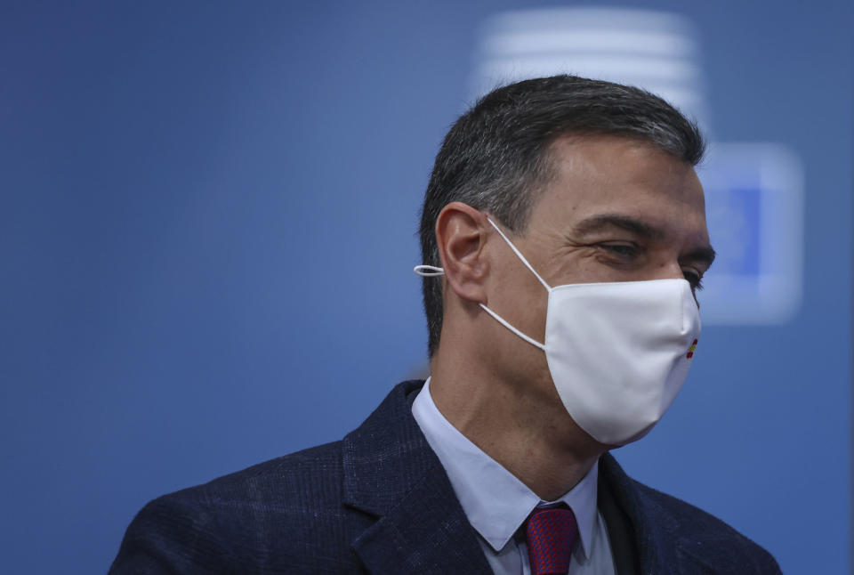 Spanish Prime Minister Pedro Sanchez arrives for an EU summit at the European Council building in Brussels, Friday, June 25, 2021. EU leaders are discussing the economic challenges the bloc faces due to coronavirus restrictions and will review progress on their banking union and capital markets union. (Aris Oikonomou, Pool Photo via AP)