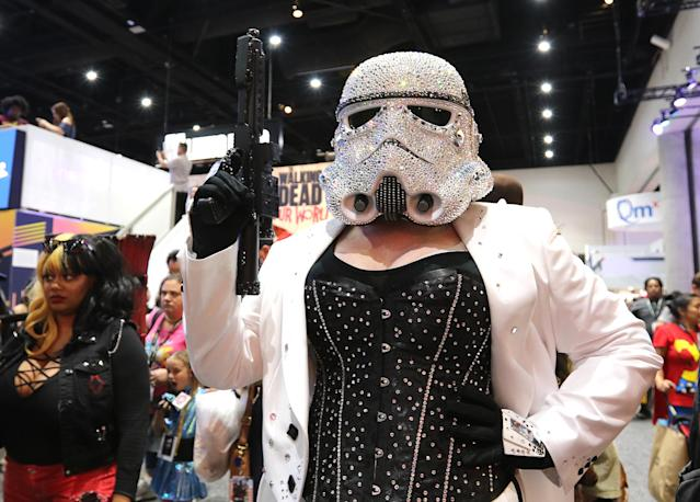 <p>Cosplayer dressed as Crystal trooper, inspired by <i>Star Wars</i>, at Comic-Con International on July 21, 2018, in San Diego. (Photo: Angela Kim/Yahoo Entertainment) </p>