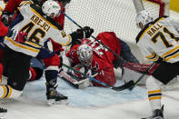 Boston Bruins left wing Taylor Hall (71) scores a goal past Washington Capitals goaltender Craig Anderson (31) during the third period of Game 2 of an NHL hockey Stanley Cup first-round playoff series Monday, May 17, 2021, in Washington. (AP Photo/Alex Brandon)