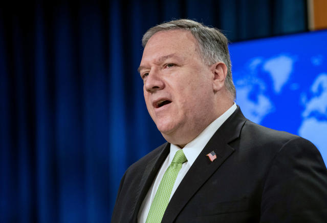 US secretary of state Mike Pompeo: 'The United States stands with our allies and partners against the Chinese Communist Party's coercive bullying tactics'. (Nicholas Kamm/Pool Photo via AP)
