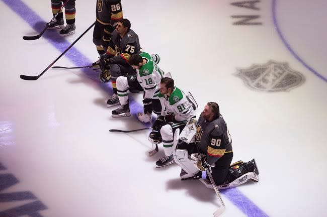 Vegas, Dallas players kneel for anthems as protests gain momentum at NHL restart