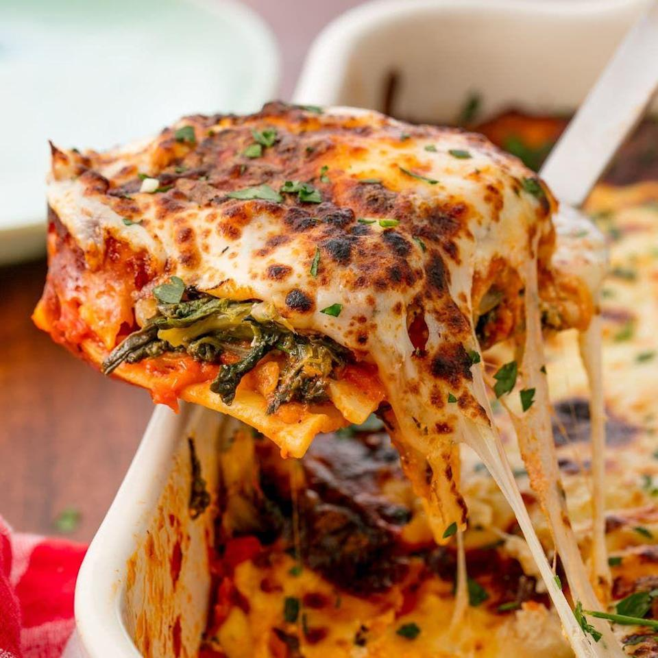 """<p>This lasagne could win over any meat lover.</p><p>Get the <a href=""""https://www.delish.com/uk/cooking/recipes/a29664541/easy-spinach-lasagna-recipe/"""" rel=""""nofollow noopener"""" target=""""_blank"""" data-ylk=""""slk:Spinach Lasagne"""" class=""""link rapid-noclick-resp"""">Spinach Lasagne</a> recipe.</p>"""