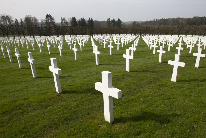FILE - In this March 24, 2017 file photo, a view of rows of crosses of American World War I soldiers at the Meuse-Argonne American cemetery in Romagne-sous-Montfaucon. It was America's largest and deadliest battle ever, with 26,000 U.S. soldiers killed and tens of thousands wounded. A hundred years ago, the Meuse-Argonne offensive contributed to bring an end to of World War One. (AP Photo/Virginia Mayo, File)