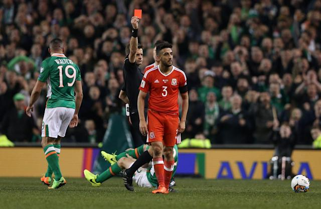 <span>Wales defender Neil Taylor will serve a two-game suspension for his World Cup dismissal in Dublin</span> <span>Credit: PA </span>
