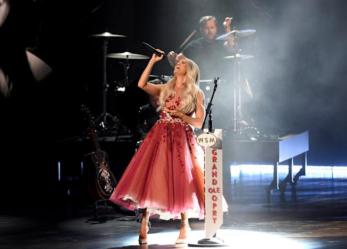 NASHVILLE, TENNESSEE - SEPTEMBER 13: Carrie Underwood performs onstage during the 55th Academy of Country Music Awards at the Grand Ole Opry on September 13, 2020 in Nashville, Tennessee. The 55th Academy of Country Music Awards is on September 16, 2020 with some live and some prerecorded segments. (Photo by Jason Kempin/ACMA2020/Getty Images for ACM)