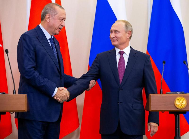 Russian President Vladimir Putin and Turkish President Tayyip Erdogan met earlier this month to arrange a ceasefire between their warring allies on either side of the conflict in a hope of preventing further devastation in the city of Idlib. (AFP/Getty/Alexander Zemlianichenko)