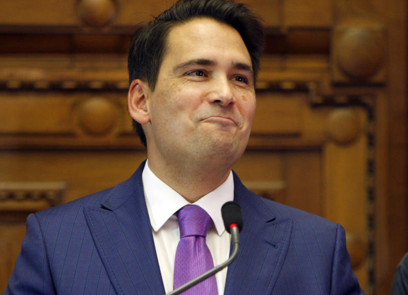FILE - In this Feb. 27, 2018, file photo, Simon Bridges holds a press conference in Wellington, New Zealand. New Zealand's Prime Minister Jacinda Ardern said Tuesday, Jan. 28, 2020 that New Zealand's general election will be held on Sept. 19. Ardern will be seeking a second term in office and is expected to face tough competition from conservative challenger Bridges. (AP Photo/Nick Perry, File)