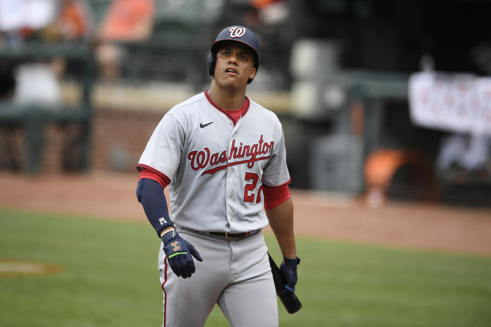 Washington Nationals' Juan Soto looks on during a baseball game against the Baltimore Orioles, Sunday, July 25, 2021, in Baltimore. (AP Photo/Nick Wass)