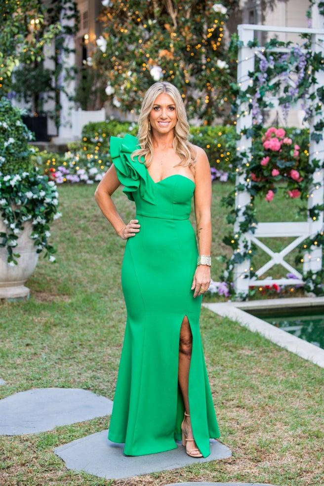 Tash Dowell in a green one shoulder dress on The Bachelor