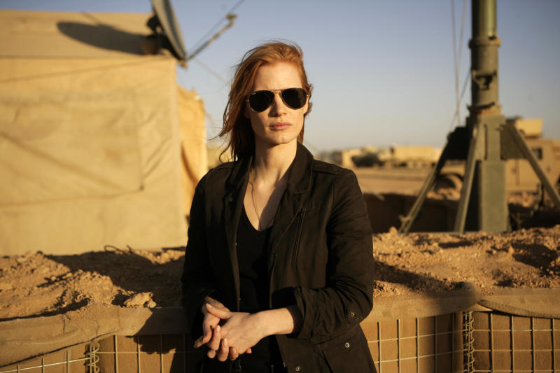 """FILE - This undated publicity film image provided by Columbia Pictures Industries, Inc. shows Jessica Chastain playing a member of the elite team of spies and military operatives stationed in a covert base overseas who secretly devoted themselves to finding Osama Bin Laden in Columbia Pictures' gripping new thriller directed by Kathryn Bigelow, """"Zero Dark Thirty."""" (AP Photo/Columbia Pictures Industries, Inc., Jonathan Olley, File)"""