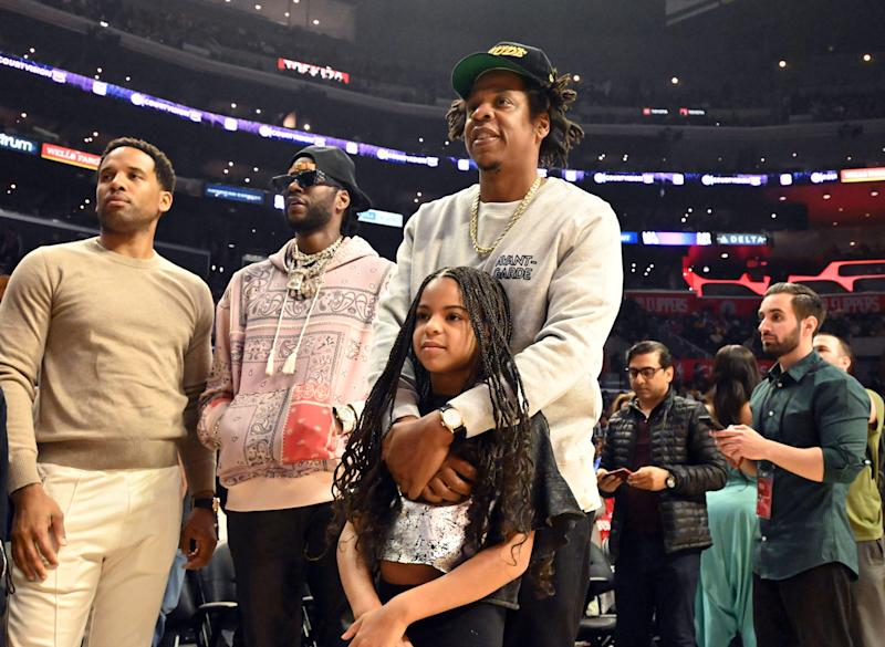 Blue Ivy Carter, pictured in early march with dad Jay-Z, is getting rave reviews for her hand-washing tutorial. (Photo: Kirby Lee-USA TODAY Sports)