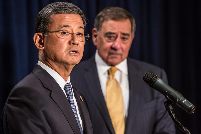 WASHINGTON, DC - FEBRUARY 5: Veterans Affairs Secretary Eric Shinseki and Defense Secretary Leon Panetta (R) make statements to the media following a meeting on February 5, 2013 in Washington, DC. The two cabinet departments seek to improve medical care for service members and veterans. (Photo by Brendan Hoffman/Getty Images)