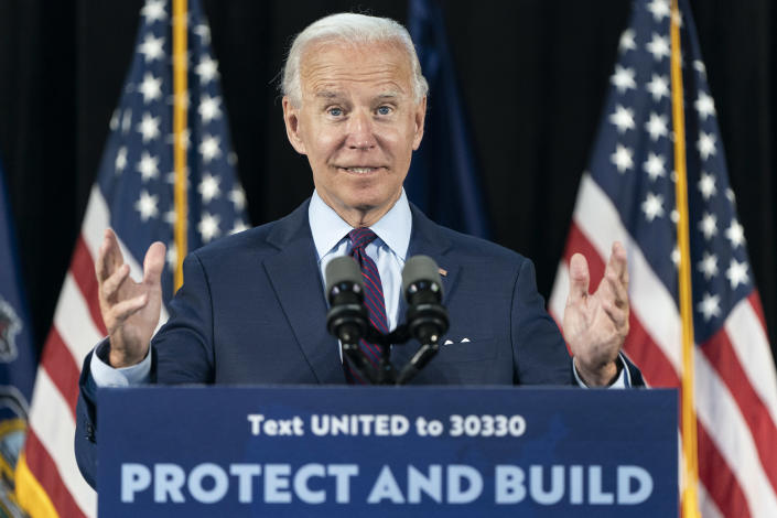 Democratic presidential candidate former Vice President Joe Biden speaks at an an event about affordable healthcare at the Lancaster Recreation Center on June 25, 2020 in Lancaster, Pennsylvania. (Joshua Roberts/Getty Images)