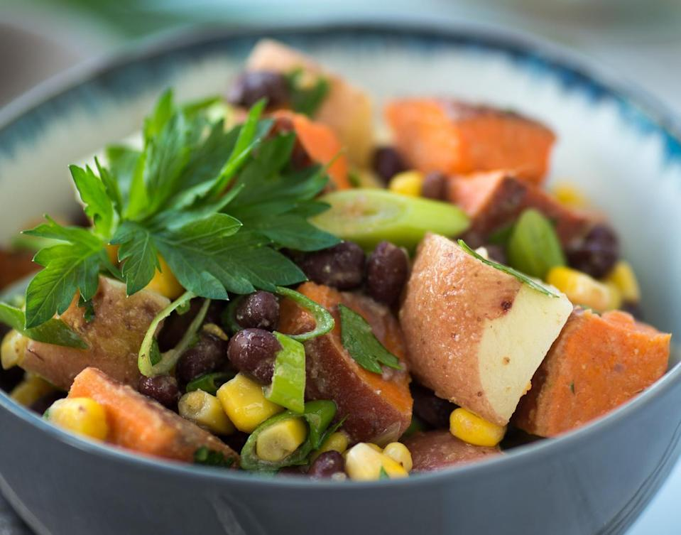 """<p>This recipe takes potato salad to the next level with common Southwestern ingredients such as green chiles and black beans. Cilantro, cumin and chile powder add a punch.</p> <p><a href=""""https://www.thedailymeal.com/southwestern-potato-salad-recipe?referrer=yahoo&category=beauty_food&include_utm=1&utm_medium=referral&utm_source=yahoo&utm_campaign=feed"""" rel=""""nofollow noopener"""" target=""""_blank"""" data-ylk=""""slk:For the Southwestern Potato Salad recipe, click here."""" class=""""link rapid-noclick-resp"""">For the Southwestern Potato Salad recipe, click here.</a></p>"""