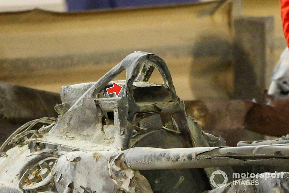 "The remains of the car of Romain Grosjean, Haas VF-20<span class=""copyright"">Andy Hone / Motorsport Images</span>"
