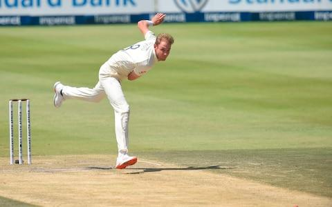 England's Stuart Broad delivers a ball to South Africa's Dwaine Pretorius during the third day of the fourth Test cricket match between South Africa and England at the Wanderers Stadium in Johannesburg on January 26, 2020 - Credit: AFP