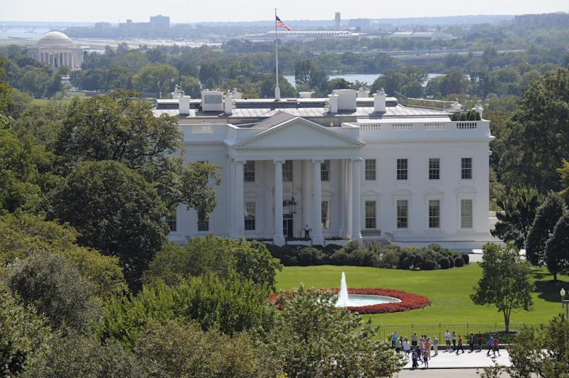 This Thursday, Sept. 20, 2012 photo shows the White House in Washington, as President Barack Obama campaigns out of town. Locked in a tight race for re-election, Obama spends much time on the road pitching for votes in battleground states. Even the noisy and disruptive construction on the North Lawn that caused headaches for months has wrapped up. (AP Photo/Susan Walsh)
