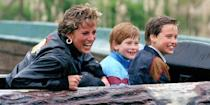 <p>Riding the log flume with Prince Harry and Prince William at Thorpe Park. </p>