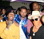 """<p>Their relationships with Kylie Jenner and Kourtney Kardashian might be over, but that doesn't mean they can't be friends, right? The guys partied with graffiti artist Alec Monopoly at a TAG Heuer event in West Hollywood on the same day that Jenner was <a rel=""""nofollow"""" href=""""https://www.yahoo.com/celebrity/rockets-sparks-inseparable-kylie-jenner-015854755.html"""" data-ylk=""""slk:spotted out with hip-hop artist Travis Scott;outcm:mb_qualified_link;_E:mb_qualified_link;ct:story;"""" class=""""link rapid-noclick-resp yahoo-link"""">spotted out with hip-hop artist Travis Scott</a> at an NBA game. (Photo: Joshua Blanchard/Getty Images for TAG Heuer) </p>"""